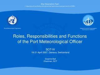 Roles, Responsibilities and Functions of the Port Meteorological Officer