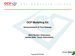 OCP Modelling Kit Announcement of First Release