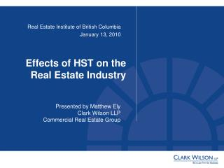 Effects of HST on the Real Estate Industry