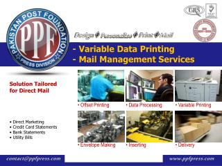 - Variable Data Printing  - Mail Management Services