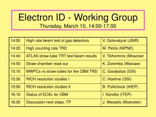 Electron ID - Working Group Thursday, March 10, 14:00-17:00