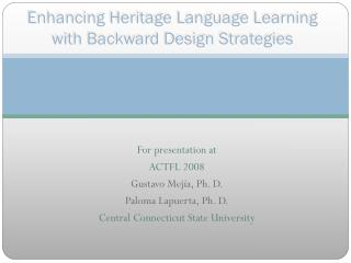 Enhancing Heritage Language Learning with Backward Design Strategies