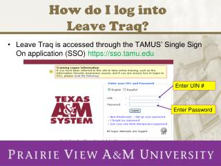 How do I log into  Leave Traq?