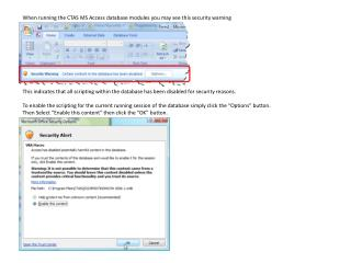 When running the CTAS MS Access database modules you may see this security warning