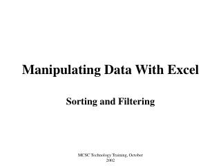 Manipulating Data With Excel