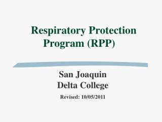 Respiratory Protection Program (RPP)