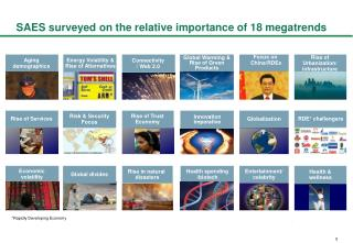 SAES surveyed on the relative importance of 18 megatrends