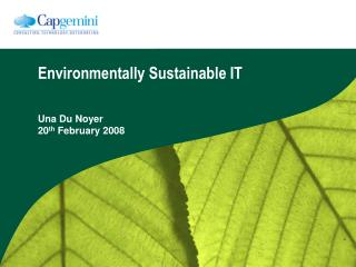 Environmentally Sustainable IT