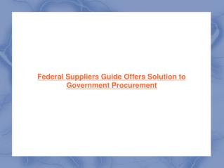 Federal Suppliers