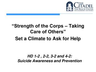 HD  1-2 , 2-2, 3-2 and 4-2: Suicide  Awareness and Prevention