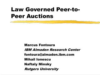 Law Governed Peer-to-Peer Auctions