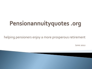 Pension Annuity Quotes