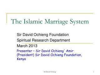 The Islamic Marriage System