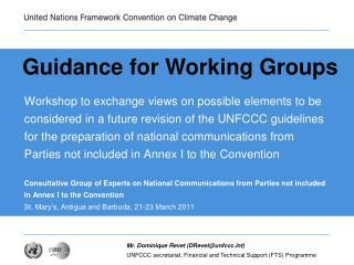 Guidance for Working Groups