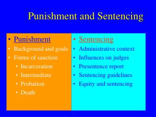 Punishment and Sentencing