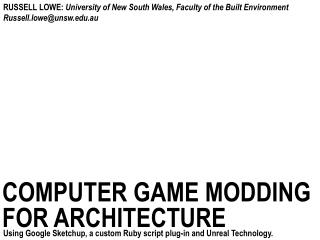 computer game  modding for architecture