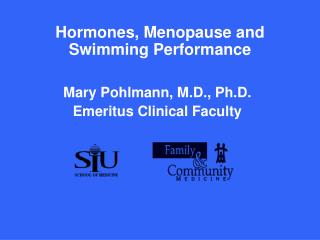 Hormones, Menopause and Swimming Performance