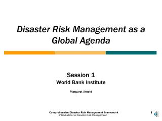 Disaster Risk Management as a Global Agenda