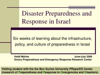 Disaster Preparedness and Response in Israel