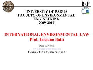 UNIVERSITY OF PADUA FACULTY OF ENVIRONMENTAL ENGINEERING 2009-2010
