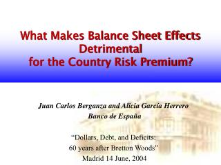 What Makes Balance Sheet Effects Detrimental  for the Country Risk Premium?