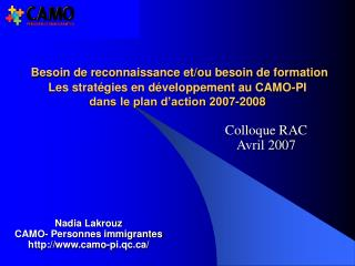 Colloque RAC  Avril 2007