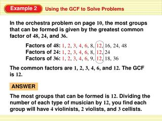 Using the GCF to Solve Problems