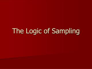 The Logic of Sampling