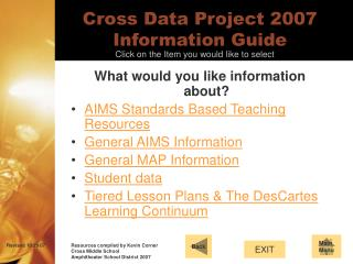 Cross Data Project 2007 Information Guide
