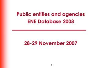 Public entities and agencies ENE Database 2008 28-29 November 2007