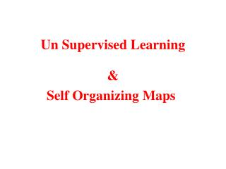 Un Supervised Learning