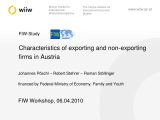 FIW-Study Characteristics of exporting and non-exporting firms in Austria