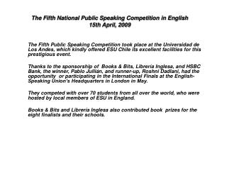 The Fifth National Public Speaking Competition in English 15th April, 2009