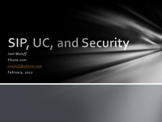 SIP, UC, and Security