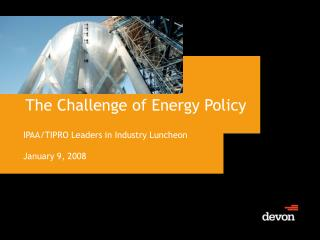 The Challenge of Energy Policy