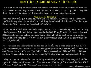 Một Cách Download Movie Từ Youtube