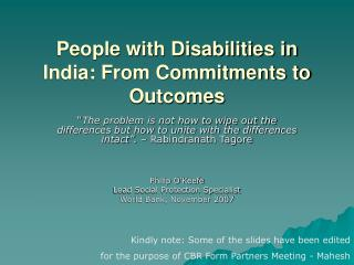 People with Disabilities in India: From Commitments to Outcomes
