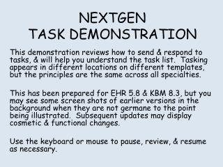 NEXTGEN TASK DEMONSTRATION