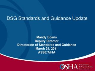 DSG Standards and Guidance Update