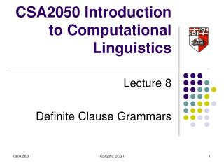 CSA2050 Introduction to Computational Linguistics