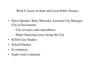 Week 8: Issues in State and Local Public Finance