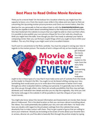online movie reviews