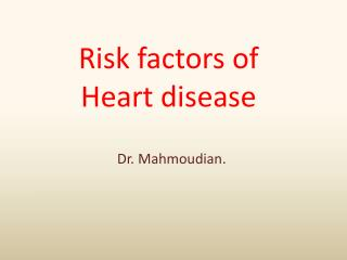 Risk factors of Heart disease