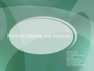 Portfolio Mining and Analysis