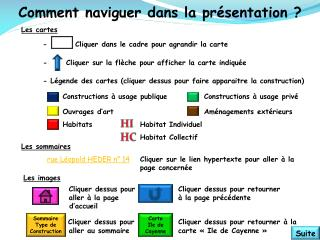 Comment naviguer dans la présentation ? Les cartes