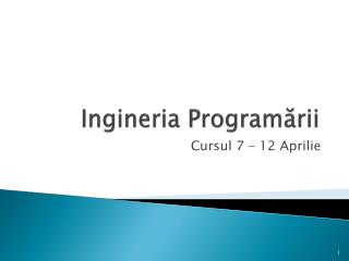 Ingineria  Program ?rii