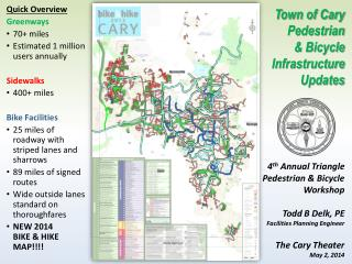 Quick Overview Greenways 70+ miles Estimated 1 million users annually Sidewalks 400 + miles