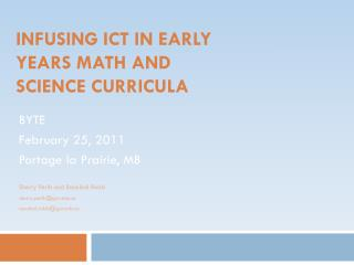 Infusing ICT in Early Years Math and Science Curricula