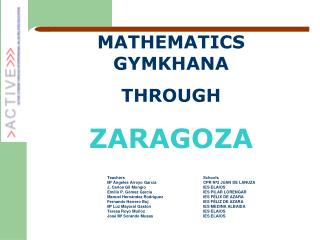 MATHEMATICS GYMKHANA  THROUGH ZARAGOZA Teachers 			Schools