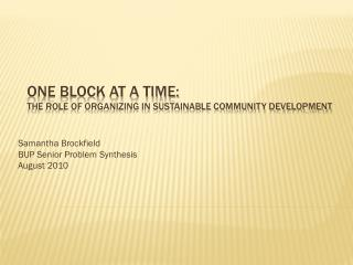 One Block At a Time: The Role of Organizing in Sustainable Community Development